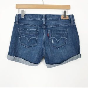 LEVI'S Denim Cuffed Distressed Jean Shorts 3